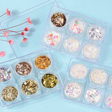 6Pcs 3D Glass Glitter Nail Sequins Set Art Decoration