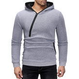 Mens Diagonal Zipper Cotton Hooded Casual Sweatshirt