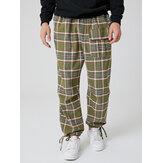 Mens Cotton Plaid Multi Pocket Casual Drawstring Elastic Waist Jogger Pants