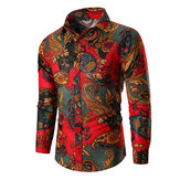 Ethnic Style Men's Printed Color Long Sleeve Shirts