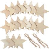 10Pcs Blank Star Shape Wood Chip Sheet Hanging Tags Cutouts Laser Engraving Wooden DIY Crafts