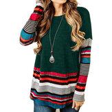 Gestreepte casual blouse met ronde hals en lange mouwen