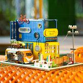 iiecreate Hello Summer DIY Dollhouse Com Music Cover Light Casa de boneca de madeira para coleção de brinquedos