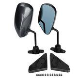 1 Set Universal Manual Adjustment Style Carbon Fiber Side Car Mirror Carbon Fiber Blue Surface