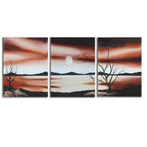 3 Pcs Wall Decorative Painting Desert Sunset Canvas Print Art Pictures Frameless Wall Hanging Decorations for Home Office