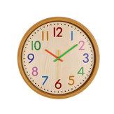 LoskiiHC-40Horlogemuraleàsuspendre décorative en bois Colorful Horloge suspendue à quartz silencieuse