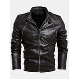 Mens Multi-Zipper Warm Lining Biker PU Lederjacke