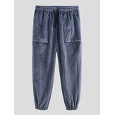 Mens Vintage Drawstring Elastic Waist Solid Color Casual Pants