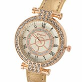Deffrun Leather Band Women Wrist Watch Casual Style Crystal Quartz Watch