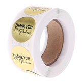 500Pcs/Roll Thank You For Your Purchase Stickers Gold Foil Round Order Labels Tags Natural Kraft Handmade Decorations
