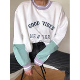Women Slogan Print Patchwork Knitting Round Neck Pullover Drop Shoulder Sweatshirt