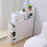 トイレ側の収納キャビネットの棚は車輪が付いている防水浴室のオルガナイザーの棚を棚に置きます