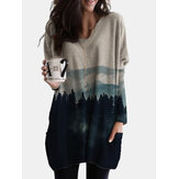 Casual Landscape Printed V-neck Long Sleeve Side Pocket Blouse For Women