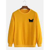 Simple Cartoon Katze Print Rundhals-Baumwollpullover Langarm-Sweatshirts