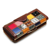 Women Genuine Leather Patchwork Long Wallet Elegant Purse