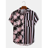 Banggood Design Mænd Coconut Tree Colorful Stribet blandet print Kortærmet Casual ferieskjorter