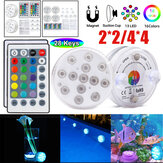 2PCS / 4PCS LED Luz subacuática Impermeable RGB Natación Piscina Lámpara + 24Keys IR Control remoto