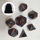 Juego de rol de 7 piezas de metal antiguo polihédricos dados DND RPG MTG