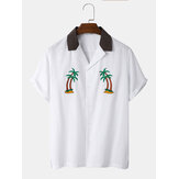 Mens 100% Cotton Coconut Tree Embroidery Patchwork Revere Collar Shirt