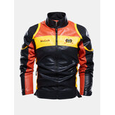 Mens Embroidery Patchwork PU Leather Motorcycle Long Sleeve Jacket