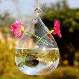 Haning Vand Drop Formet Glas Vase Dobbelt Holes Bottle Home Garden Bryllupsfest Dekoration