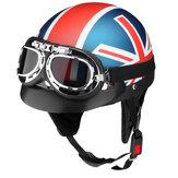 Capacete de cara aberto da motocicleta 3/4 de meia com a viseira de Sun dos óculos de proteção ajustável