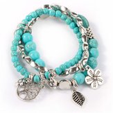 Sweet Bohemian Blue Turquoise Beaded Multilayer Bracelet