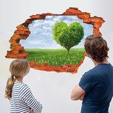 Miico Creative 3D Love Tree Scenery Broken Wall Verwijderbare Home Room Decoratieve muur Decor Sticker