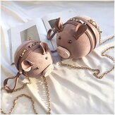 Casual Cute Cartoon Pig Pattern Zipper Women  Crossbody Bags Mobile Phone Small Round Chain Storage Bag