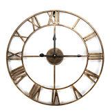 Большой скелет Часы Зеркальная стена в стиле Часы Потертый Винтаж Шикарные римские цифры