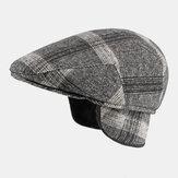 Men Felt Orelha Proteção Winter Outdoor Plaid Padrão Boina Universal Quente Chapéu Forward Chapéu