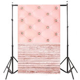 3x5FT Vinyl Pink Wood Floor Bedside Photography Backdrop Background Studio Prop