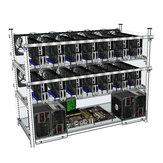 Açık Hava Madenciliği Çerçevesi Ardıç 14 GPU İstiflenebilir Kılıf 12 LED ETH ZCash için Fanlar