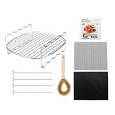 Stainless Steel Air Fryer Baking Tray BBQ Grill Rack w/ Skewers Brush for Cooking Grilling Drying