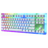 GamaKay K87 87 Keys Mechanical Gaming Keyboard Hot Swappable Type-C Kablet USB 3.1 Gjennomsiktig glassbase Gateron Switch ABS To-farget Keycap RGB Gaming Keyboard