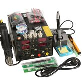 Saike 220V 909D+ Rework Soldering Station + Hot Air Nozzle + DC Power Supply  3 in 1  Multi-function Set with full Accessories
