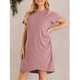 Women Casual Pink Irregular Hem Pleated Short Sleeve Dress