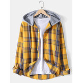 Mens Plaid Print Long Sleeve Curved Hem Hooded Shirts