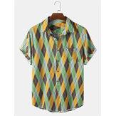 Erkek Zıt Renkli Kontrast Geometrik Yaka Kısa Kol Gömlek