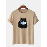 Moda Cartoon Cat Maschera Stampa T-Shirt O-Collo Manica Corta