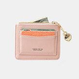 Women Solid 5 Card Slots Hardware Mini Wallet Purse