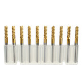 Drillpro 10pcs 3mm Carbide End Mill Cutter Titanium Coated Engraving Milling Cutter Carbide Rotary Burr