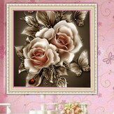 DIY zestaw do malowania diamentami 5D kwiat retro ręcznie robiony haft ściegiem krzyżykowym dekoracje ścienne do domowego biura