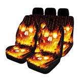 Conjunto de capa de assento de carro 1/2 / 7PCS Universal Fit Flame Caveira Capa de proteção de assento