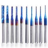10Pcs 0.8-3mm Blue Nano Coating Engraving Milling Cutter Carbide End Mill CNC Router Bits 1/8 Inch Shank