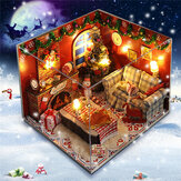 Zestawy DIY drewniane meble dla lalek LED Light Miniature Christmas Room Puzzle Toy Gift Decor