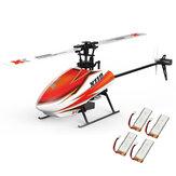 XK K110 Explosão 6CH Brushless 3D6G Sistema RC Helicóptero BNF Com 4 Pcs Bateria