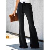Calças femininas cor sólida casual preto cintura alta