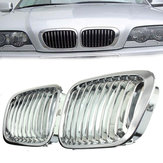 Front Kidney Chrome Glossy Grill Grille For BMW E46 3 Series 4 Door 4 DR 97-01