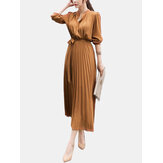 Elegant Women Solid Color Tie Waist Pleated Chiffon Midi Shirt Dress